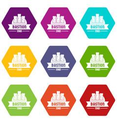 Kingdom bastion icons set 9 vector
