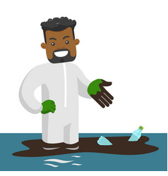 Man standing in water with oil spill and bottles vector