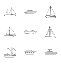 Maritime transport icons set outline style vector