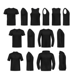 Mens casual clothing realistic mockups vector