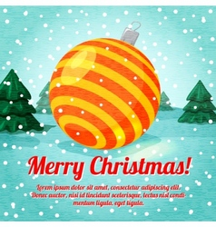Merry Christmas greeting card with cute ball toy vector image