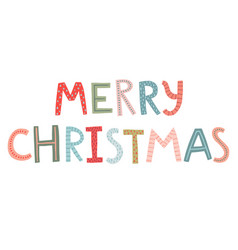 merry christmas lettering - hand drawn style vector image