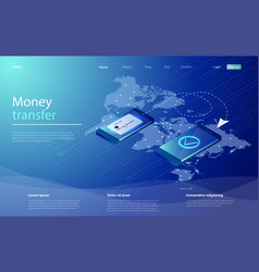 mobile app for transferring money two smartphones vector image