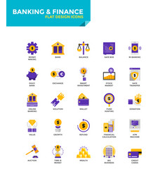 modern material flat design icons - banking and vector image