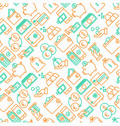 Money seamless pattern with thin line icons vector