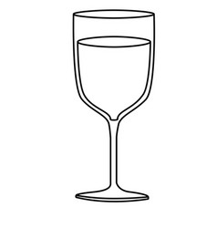 monochrome silhouette of glass cup with champagne vector image
