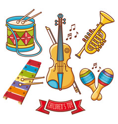 musical instruments childrens toys set violin drum vector image