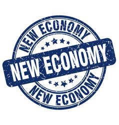 New economy blue grunge stamp vector