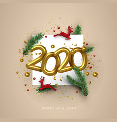 new year 2020 gold 3d number deer toy holiday card vector image