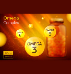 Omega 3 6 9 complex template background vector