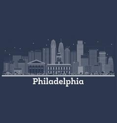 outline philadelphia pennsylvania city skyline vector image