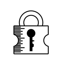 Padlock security system outline vector