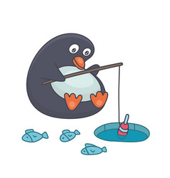 penguin fishing vector image