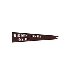 pennant icon with hidden bonus inside quote vector image