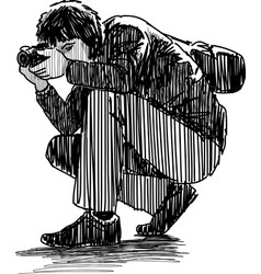 photographer crouched vector image