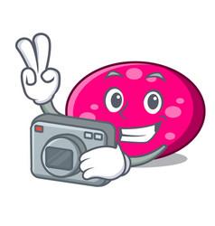 photographer ellipse mascot cartoon style vector image