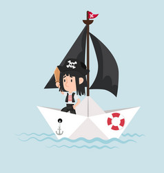pirate with sword standing on paper boat vector image