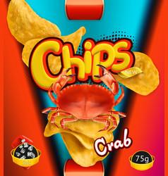 Potato chips crab flavor design packaging 3d vector