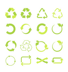 recycled eco icon set cycle and triangle vector image