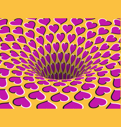 Rotating hearts patterned hole optical illusion vector