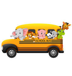 School bus filled with animals vector