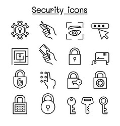 Security icon set in thin line style vector