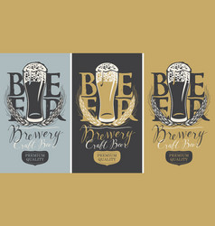 set of banners with full beer glass and wheat ears vector image