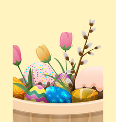 Set of easter cake color eggs flowers and willow vector