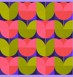 Seventies vibes abstract flower seamless pattern vector