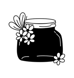 Silhouette small mason glass with flowers and vector