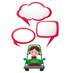 Speech bubble template with girl driving car vector