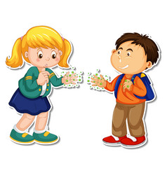 sticker template two people handshaking vector image