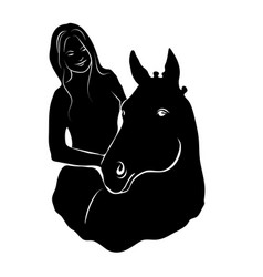 stylized silhouette of a horse with a beautiful vector image
