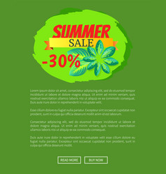 summer sale 30 off web poster push buttons advert vector image