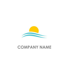 sunset beach logo vector image