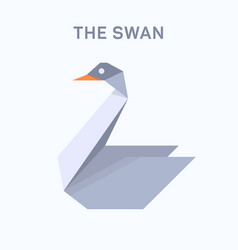 Swan origami verge flat trend style vector