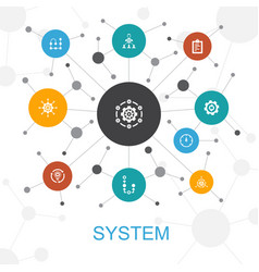 System trendy web concept with icons contains vector