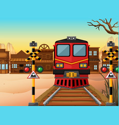 train on the track to the western town vector image