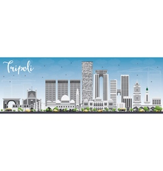 Tripoli Skyline with Gray Buildings and Blue Sky vector image