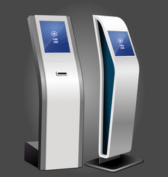 Two promotional interactive information kiosk vector