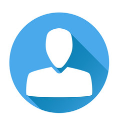 user icon white silhouette on blue round vector image