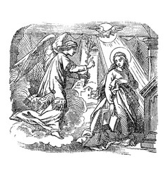 vintage drawing biblical story angel vector image