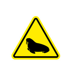 walrus warning sign yellow seal hazard attention vector image