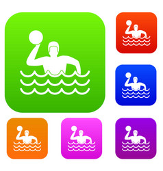 water polo set collection vector image
