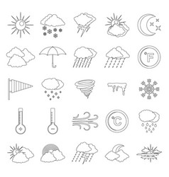 weather icons set outline style vector image