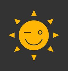 winking sun smile glyph color icon vector image
