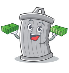 With money trash character cartoon style vector