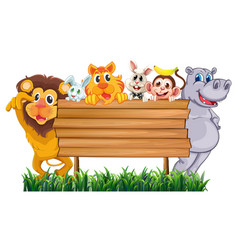 wooden sign with many animals vector image