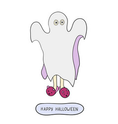 cartoon ghost in badspread isolated on white vector image vector image