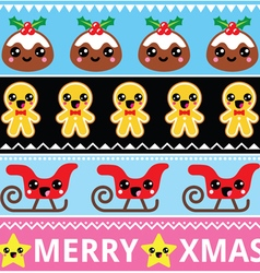 Christmas cute Kawaii seamless pattern vector image